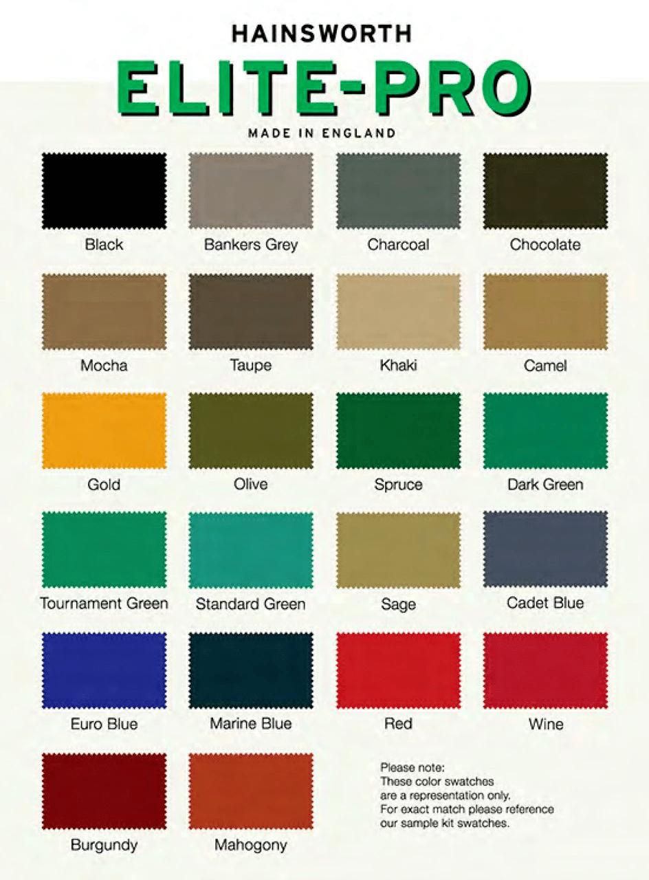 hainsworth colors All Pro Billiards
